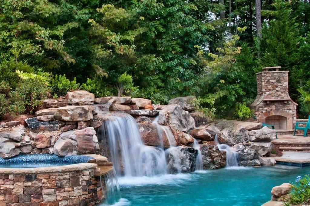 Water Feature Design Showcasing a Waterfall - Atlanta USA